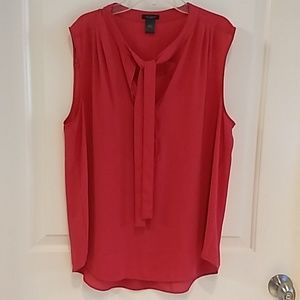 Light weight coral sleeveless blouse with tie